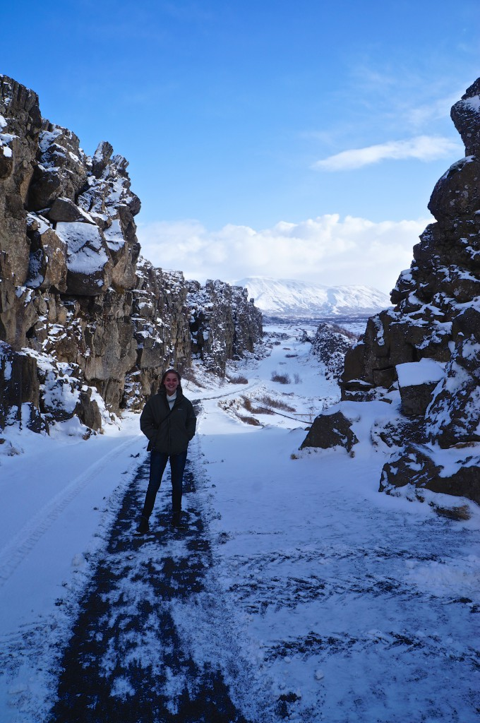 Standing between two continental plates