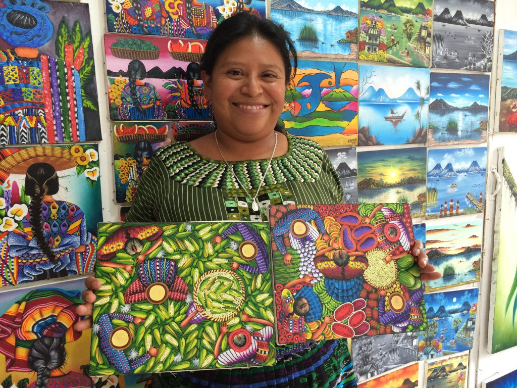 Bought these paintings from local artist Gloria Cholotio in Guatemala