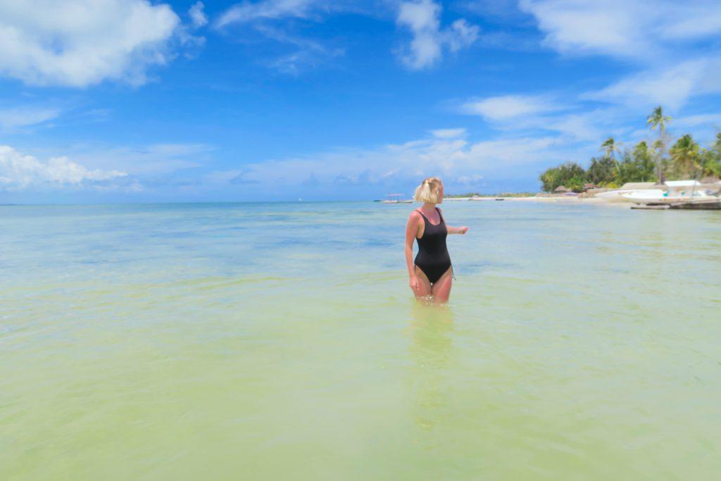 Swimsuit Paradise White Beach Zanzibar Tanzania Africa