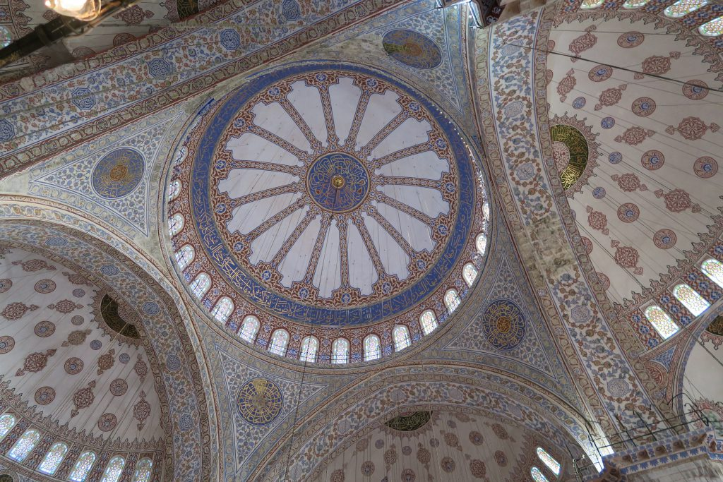 ceiling blue mosque istanbul turkey turkish airlines free tour