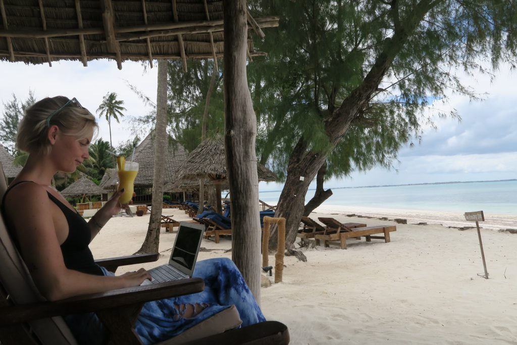Digital nomad beach office zanzibar