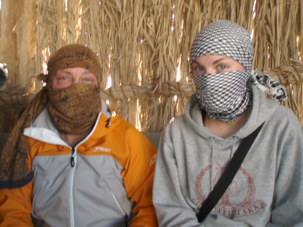 Scarves to protect our faces from the sand while driving through the desert.