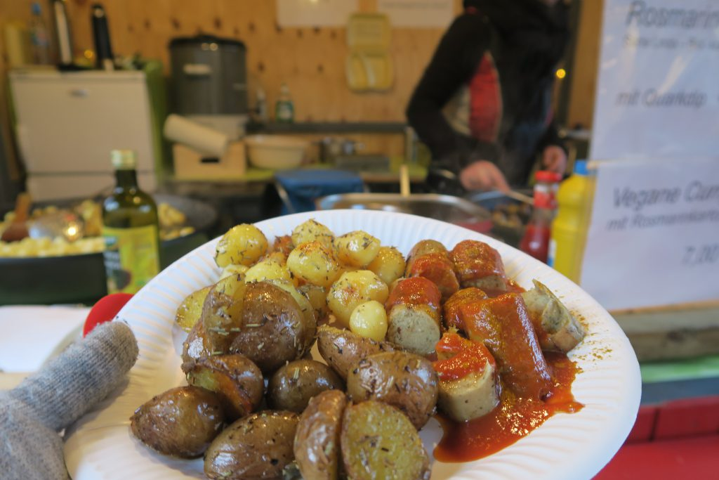 Vegan Currywurst Christmas market food